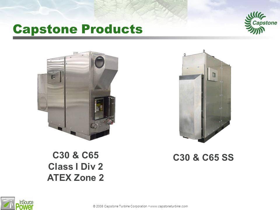 © 2008 Capstone Turbine Corporation www.capstoneturbine.com Performance C30C65C200 Rated Power 30 kw65 kw200 kw Full Load Efficiency 26%28%33% Heat Rate 12,200 Btu/kWh (12,800 kJ) 11,000 Btu/kWh (11,600 kJ) 10,300 Btu/kWh (10,900 kJ) Liquid Fuel D2, 1-K, Jet A, JP- 8, JP-5 D2In Development Gas Fuel (HHV) 325-2131 Btu/scf325-2550 Btu/scf Output Current 46 Amps RMS100 Amps RMS310 Amps RMS Nominal Voltage 400 to 480 VAC Exhaust Gas Temp 530 F (275 C)588 F (309 C)535 F (280 C) NOx Emissions Gas : <9 ppm Liquid : <35 ppm Gas: <9 ppm <5 ppm CARB Gas: <9 ppm <5 ppm CARB Acoustics 65 dBA