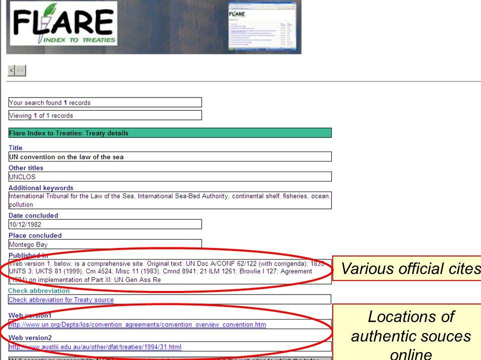 Various official cites Locations of authentic souces online