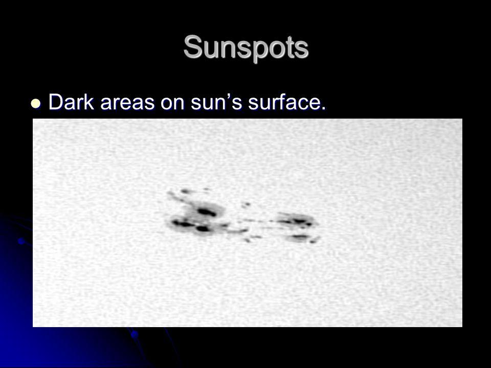 Sunspots Dark areas on sun's surface. Dark areas on sun's surface.