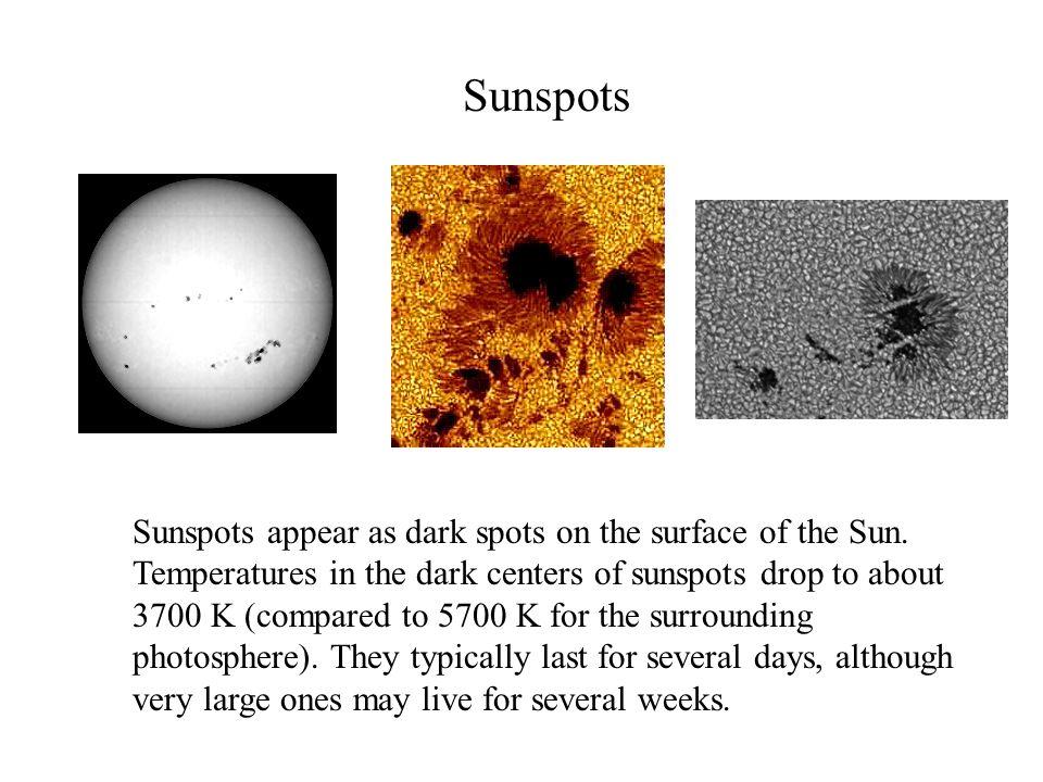 Sunspots Sunspots appear as dark spots on the surface of the Sun.