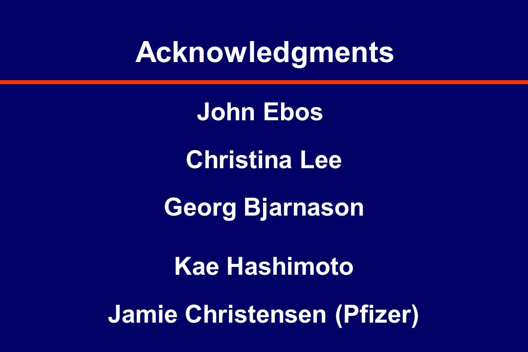 Acknowledgments John Ebos Christina Lee Georg Bjarnason Kae Hashimoto Jamie Christensen (Pfizer)