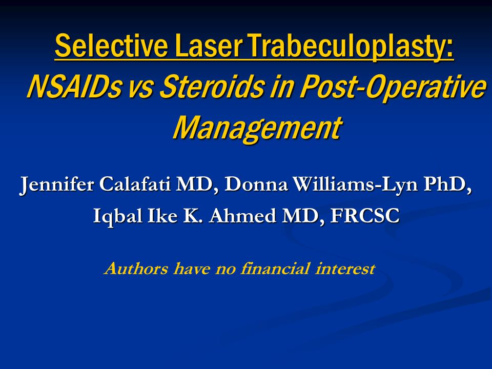 Background Either Argon Laser Trabeculoplasty (ALT) or Selective Laser Trabeculoplasty (SLT) may be performed to lower a patient's intraocular pressure (IOP).