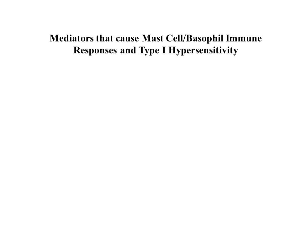 Mediators that cause Mast Cell/Basophil Immune Responses and Type I Hypersensitivity