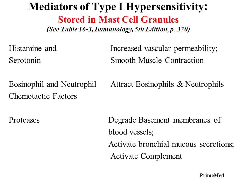Mediators of Type I Hypersensitivity : Stored in Mast Cell Granules (See Table 16-3, Immunology, 5th Edition, p. 370) Histamine and Increased vascular