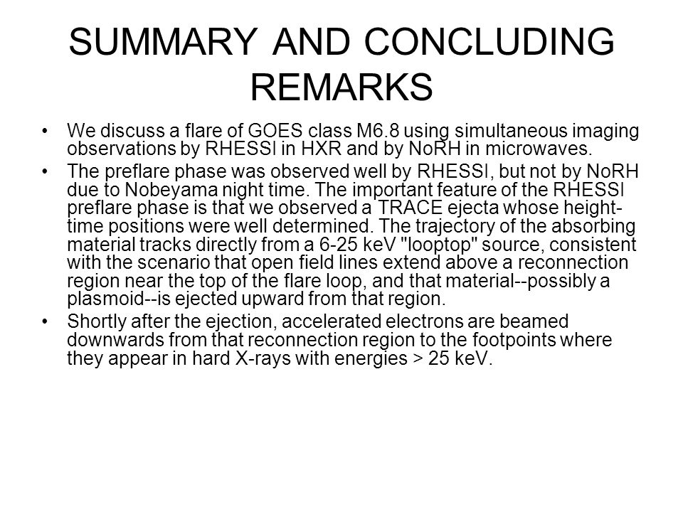 SUMMARY AND CONCLUDING REMARKS We discuss a flare of GOES class M6.8 using simultaneous imaging observations by RHESSI in HXR and by NoRH in microwaves.