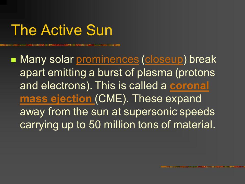 The Active Sun Many solar prominences (closeup) break apart emitting a burst of plasma (protons and electrons).