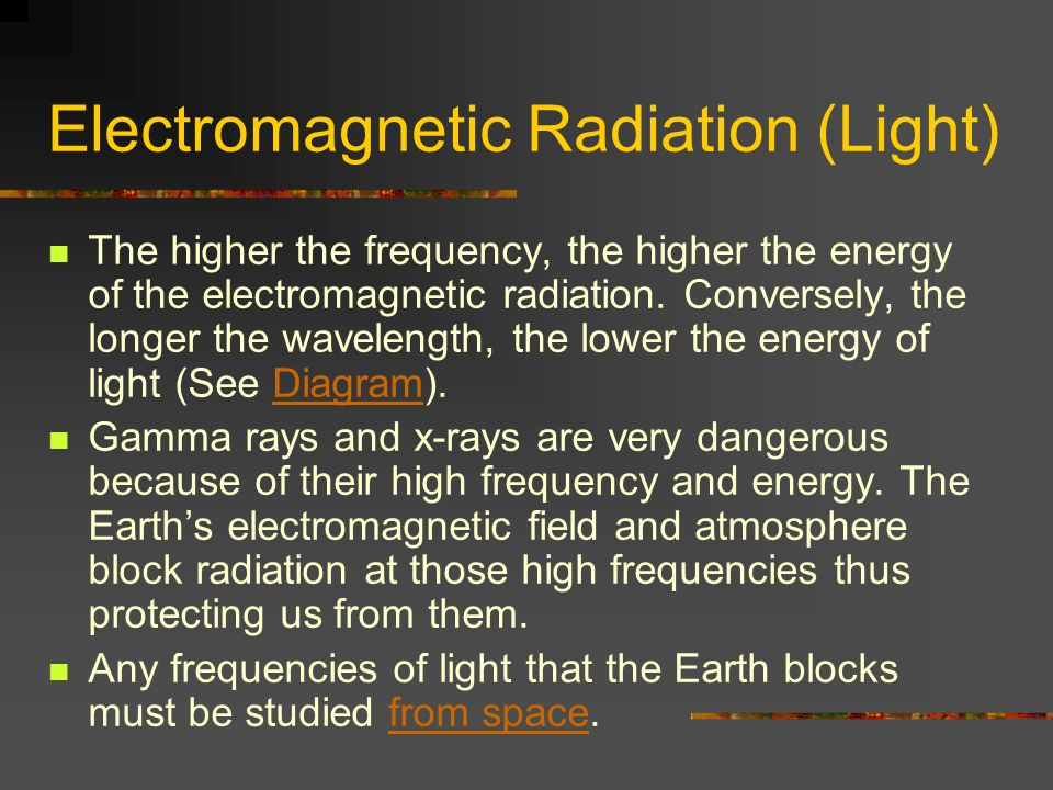 Electromagnetic Radiation (Light) The higher the frequency, the higher the energy of the electromagnetic radiation.