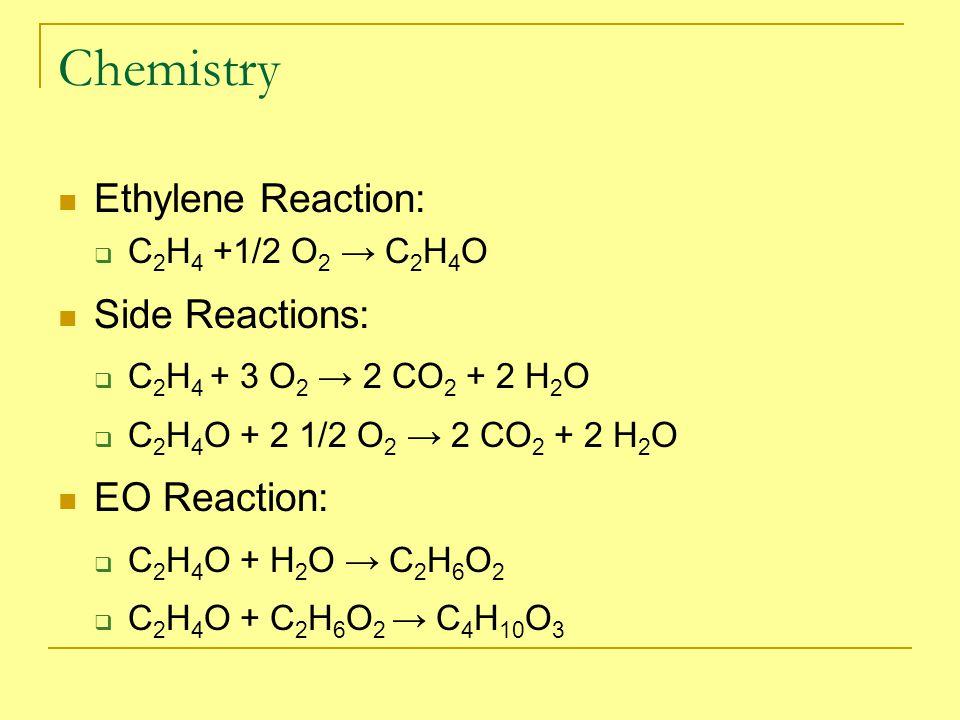 Chemistry Ethylene Reaction:  C 2 H 4 +1/2 O 2 → C 2 H 4 O Side Reactions:  C 2 H 4 + 3 O 2 → 2 CO 2 + 2 H 2 O  C 2 H 4 O + 2 1/2 O 2 → 2 CO 2 + 2 H 2 O EO Reaction:  C 2 H 4 O + H 2 O → C 2 H 6 O 2  C 2 H 4 O + C 2 H 6 O 2 → C 4 H 10 O 3