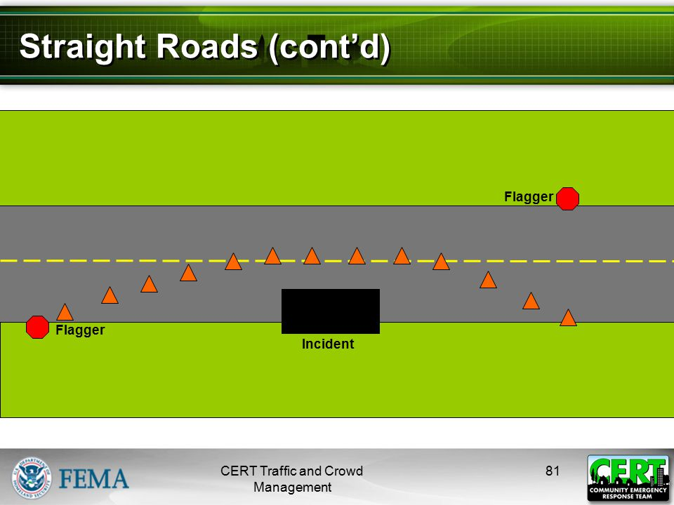Straight Roads (cont'd) CERT Traffic and Crowd Management 81 Flagger Incident