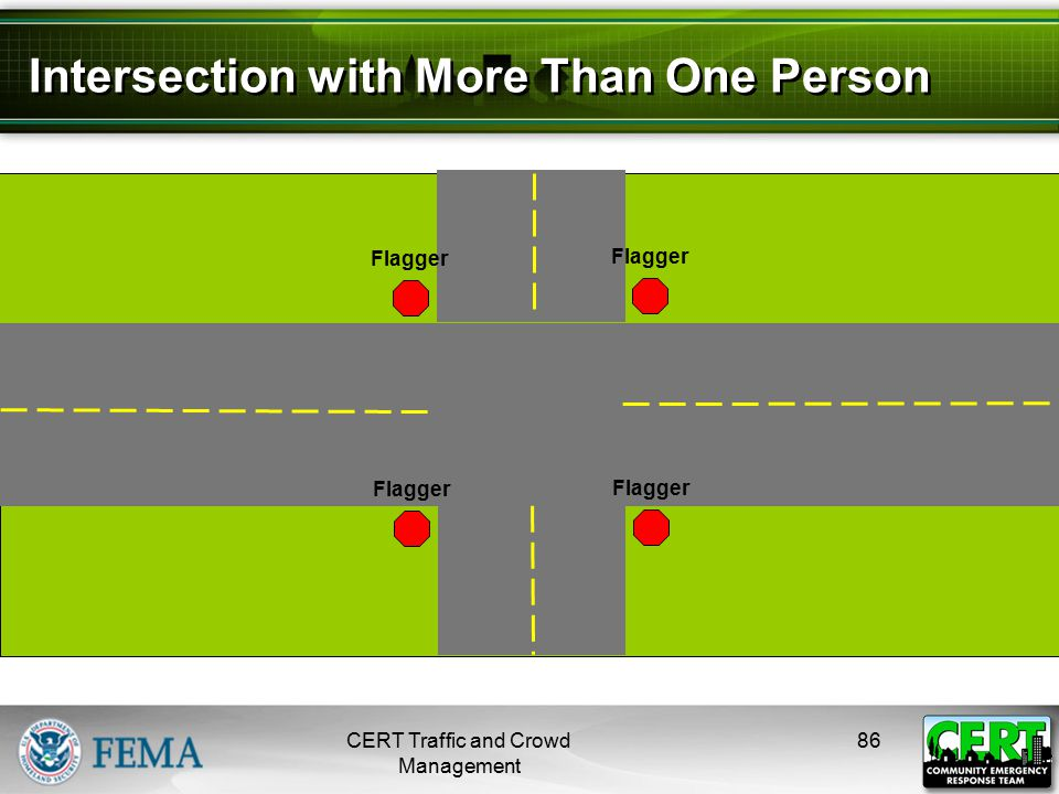 Intersection with More Than One Person CERT Traffic and Crowd Management 86 Incident Flagger