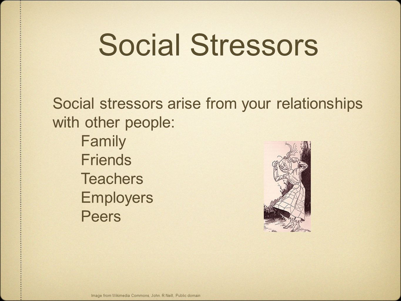 Social Stressors Social stressors arise from your relationships with other people: Family Friends Teachers Employers Peers Image from Wikimedia Common