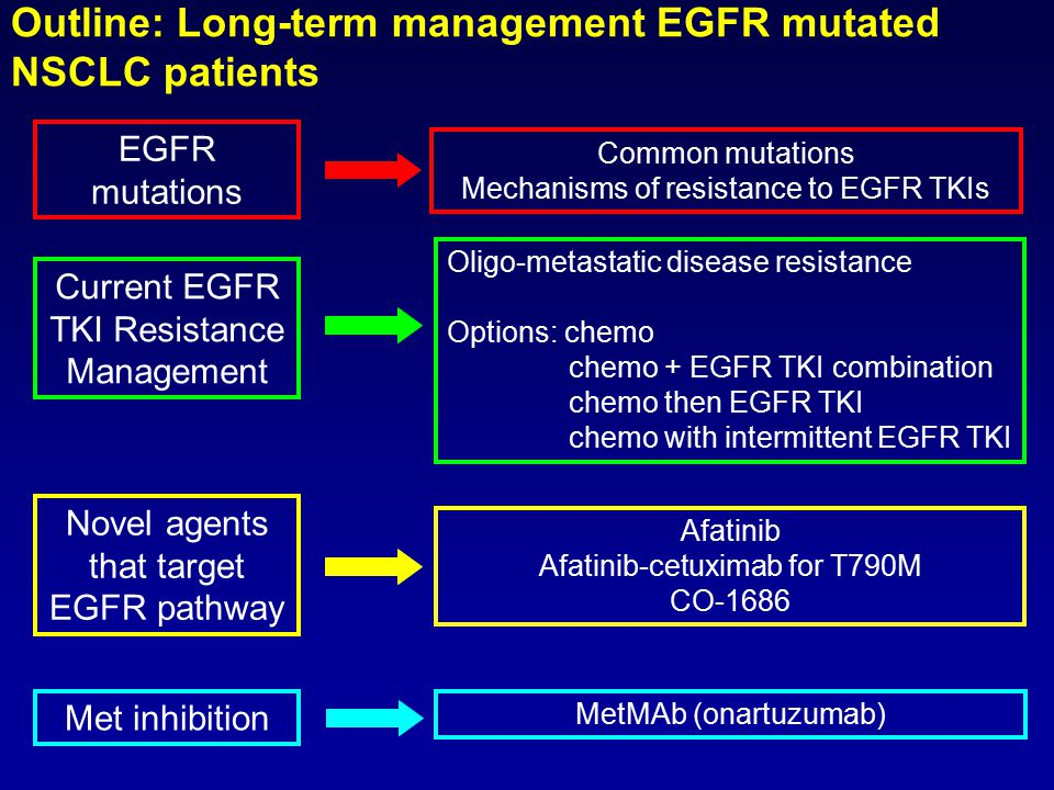 EGFR mutations Common mutations Mechanisms of resistance to EGFR TKIs Outline: Long-term management EGFR mutated NSCLC patients Current EGFR TKI Resistance Management Oligo-metastatic disease resistance Options: chemo chemo + EGFR TKI combination chemo then EGFR TKI chemo with intermittent EGFR TKI Novel agents that target EGFR pathway Afatinib Afatinib-cetuximab for T790M CO-1686 MetMAb (onartuzumab) Met inhibition