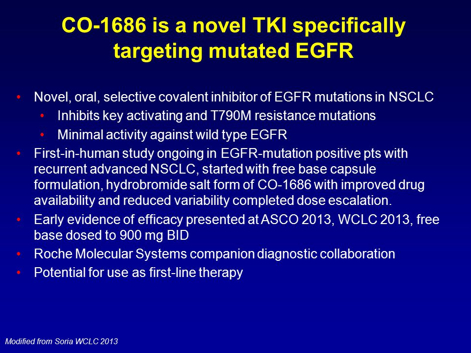 CO-1686 is a novel TKI specifically targeting mutated EGFR Novel, oral, selective covalent inhibitor of EGFR mutations in NSCLC Inhibits key activatin