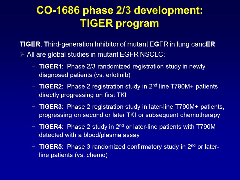 CO-1686 phase 2/3 development: TIGER program TIGER: Third-generation Inhibitor of mutant EGFR in lung cancER  All are global studies in mutant EGFR NSCLC: −TIGER1: Phase 2/3 randomized registration study in newly- diagnosed patients (vs.