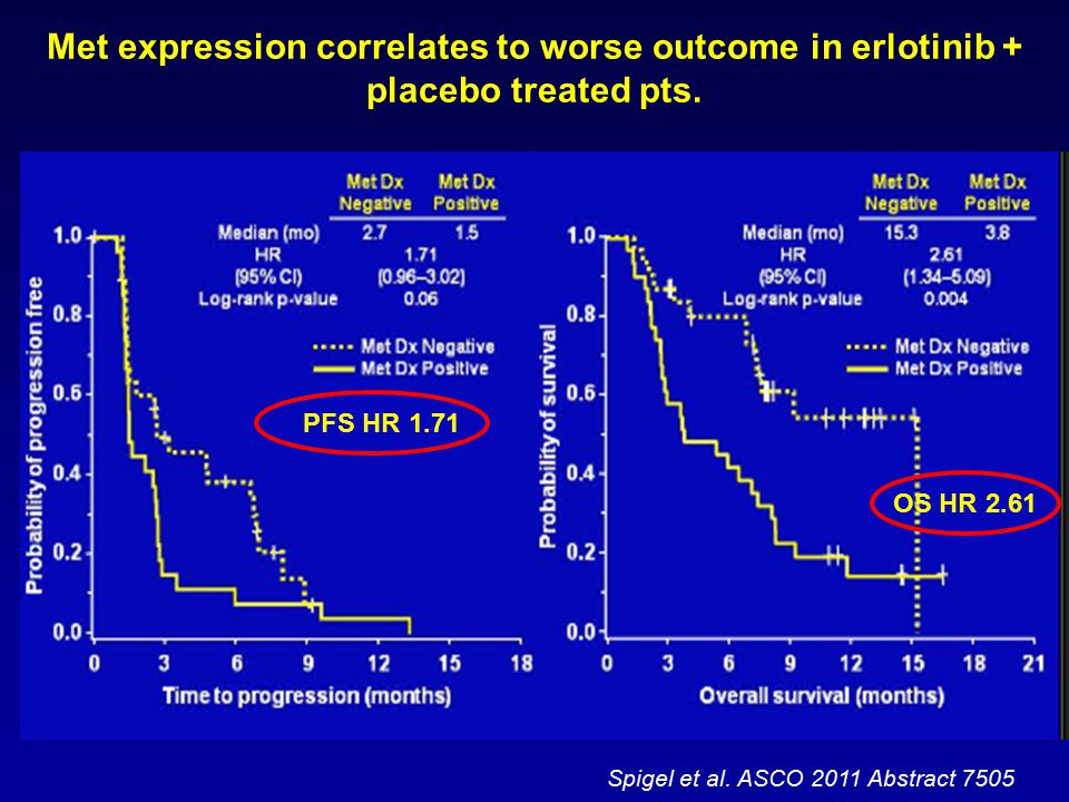Spigel et al. ASCO 2011 Abstract 7505 PFS HR 1.71 OS HR 2.61 Met expression correlates to worse outcome in erlotinib + placebo treated pts.
