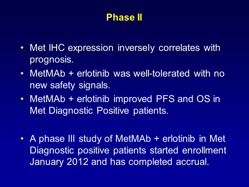 Phase II Met IHC expression inversely correlates with prognosis. MetMAb + erlotinib was well-tolerated with no new safety signals. MetMAb + erlotinib