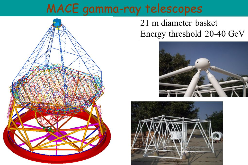MACE gamma-ray telescopes 21 m diameter basket Energy threshold 20-40 GeV