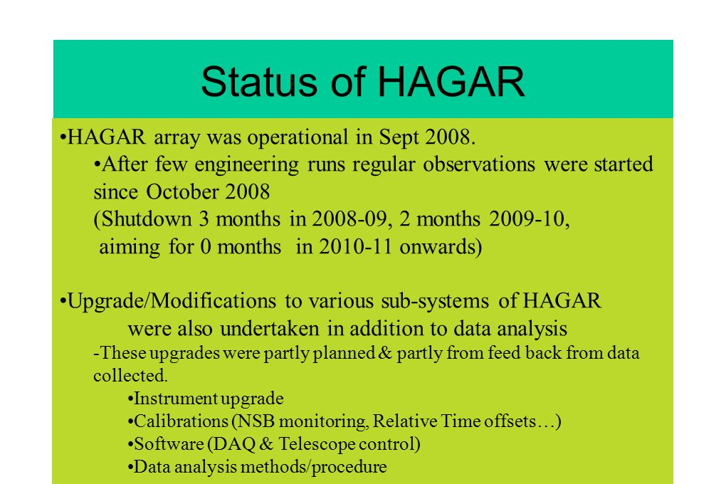 Status of HAGAR HAGAR array was operational in Sept 2008.