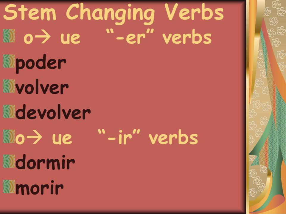 Stem Changing Verbs o  ue -er verbs poder volver devolver o  ue -ir verbs dormir morir