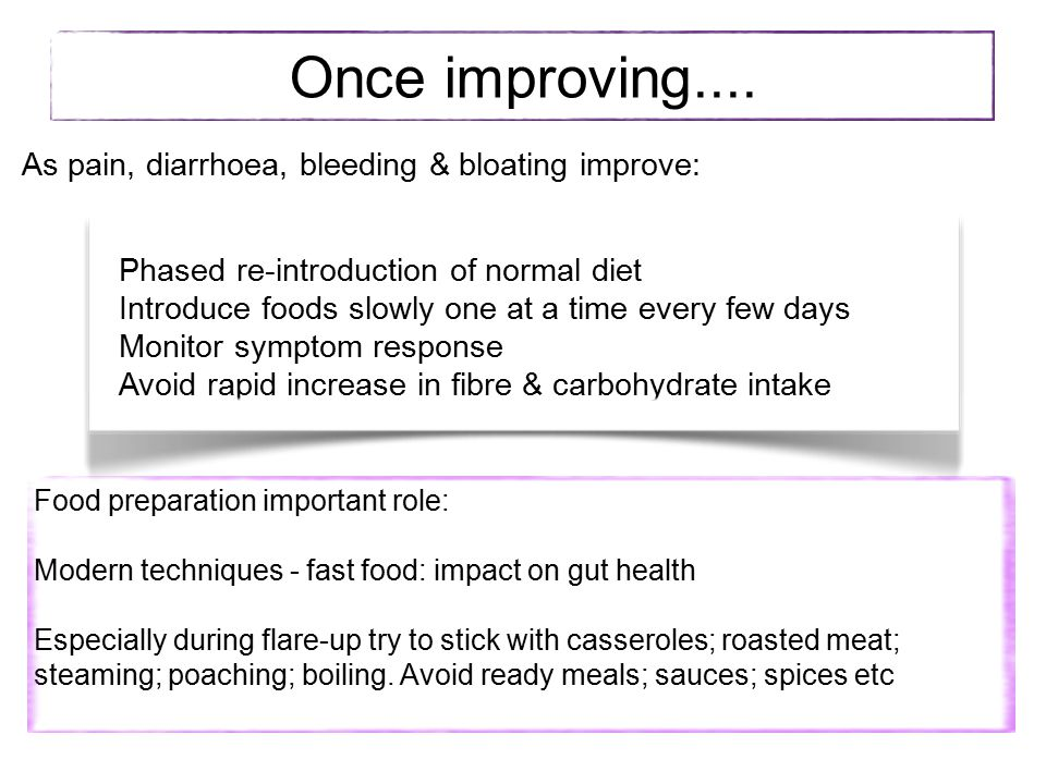 Once improving.... As pain, diarrhoea, bleeding & bloating improve: Phased re-introduction of normal diet Introduce foods slowly one at a time every f