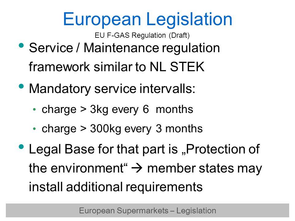 European Legislation Service / Maintenance regulation framework similar to NL STEK Mandatory service intervalls: charge > 3kg every 6 months charge >