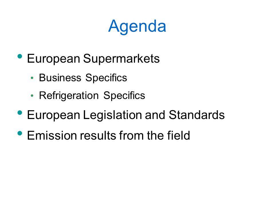 Agenda European Supermarkets Business Specifics Refrigeration Specifics European Legislation and Standards Emission results from the field