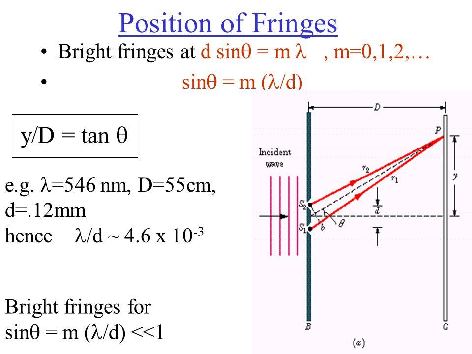 Position of Fringes Bright fringes at d sin  = m, m=0,1,2,… sin  = m ( /d) y/D = tan  e.g.