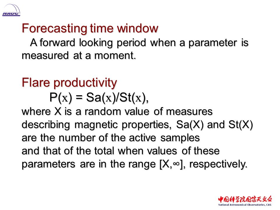 Forecasting time window A forward looking period when a parameter is measured at a moment.