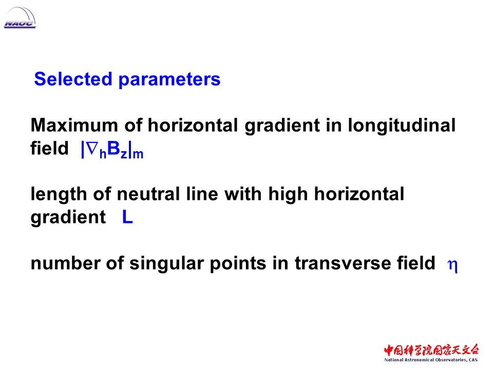 Selected parameters Maximum of horizontal gradient in longitudinal field |  h B z | m length of neutral line with high horizontal gradient L number of singular points in transverse field 