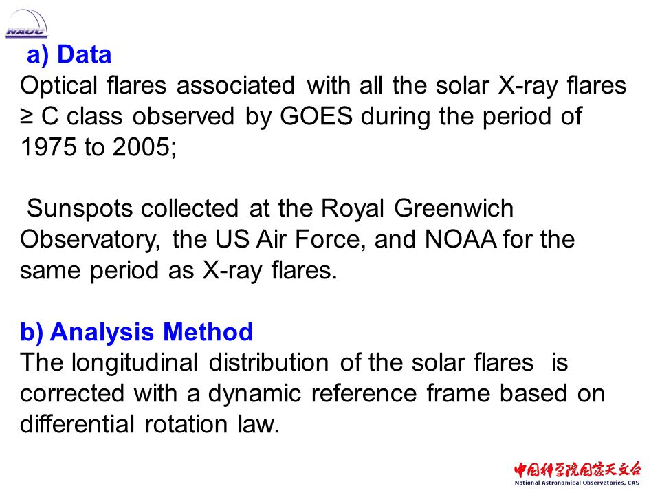 a) Data Optical flares associated with all the solar X-ray flares ≥ C class observed by GOES during the period of 1975 to 2005; Sunspots collected at the Royal Greenwich Observatory, the US Air Force, and NOAA for the same period as X-ray flares.