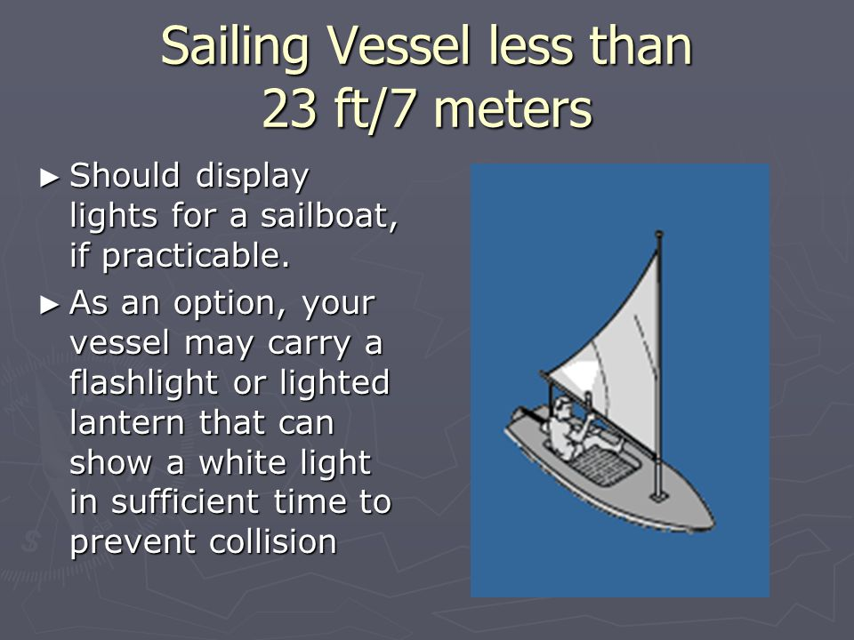 Sailing Vessel less than 23 ft/7 meters ► Should display lights for a sailboat, if practicable.