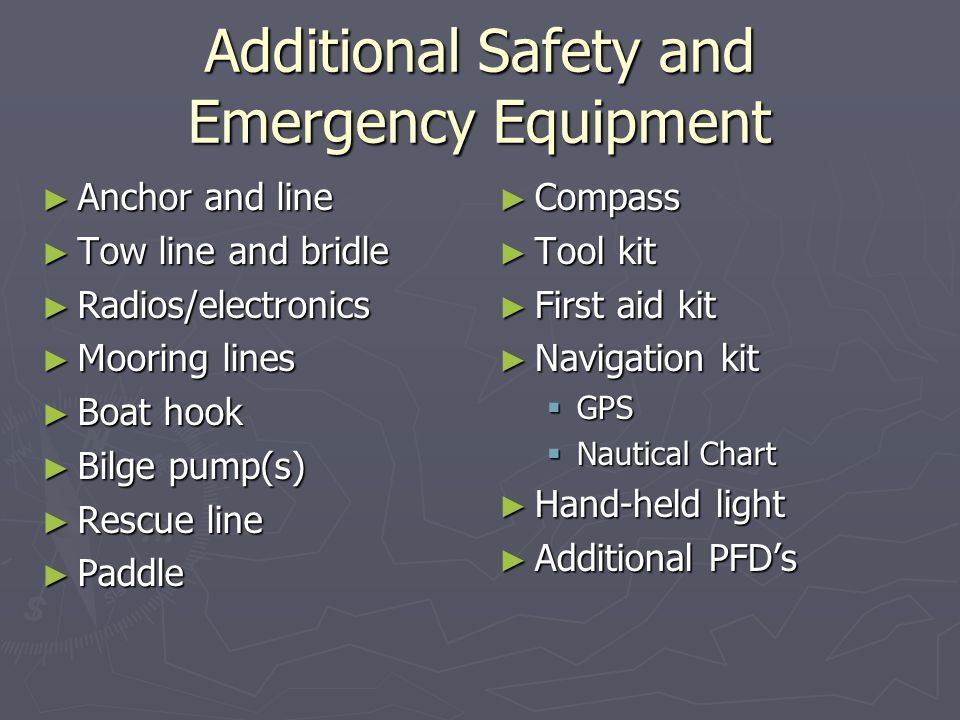 Additional Safety and Emergency Equipment ► Anchor and line ► Tow line and bridle ► Radios/electronics ► Mooring lines ► Boat hook ► Bilge pump(s) ► Rescue line ► Paddle ► Compass ► Tool kit ► First aid kit ► Navigation kit  GPS  Nautical Chart ► Hand-held light ► Additional PFD's