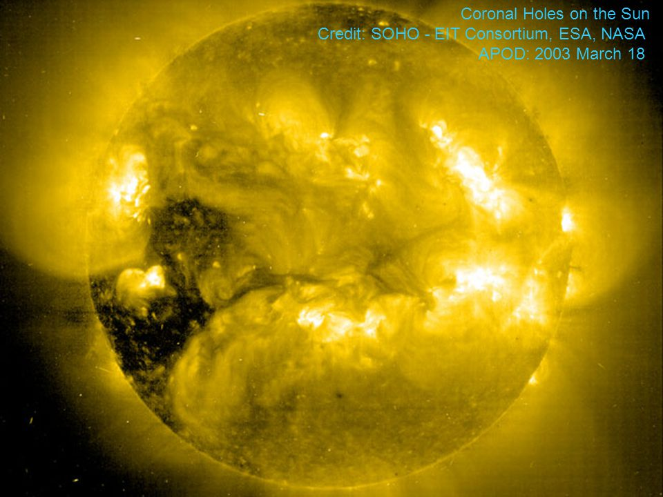 Coronal Holes on the Sun Credit: SOHO - EIT Consortium, ESA, NASA APOD: 2003 March 18