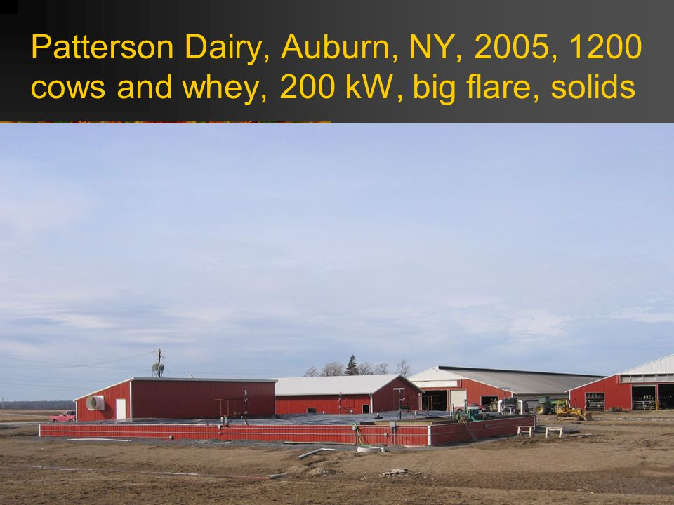 Patterson Dairy, Auburn, NY, 2005, 1200 cows and whey, 200 kW, big flare, solids