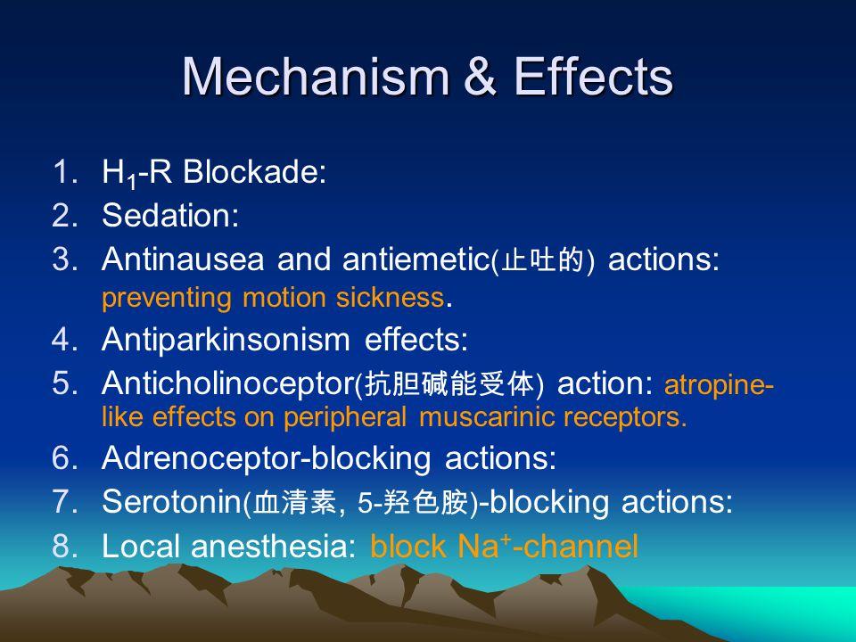 Mechanism & Effects 1.H 1 -R Blockade: 2.Sedation: 3.Antinausea and antiemetic ( 止吐的 ) actions: preventing motion sickness. 4.Antiparkinsonism effects
