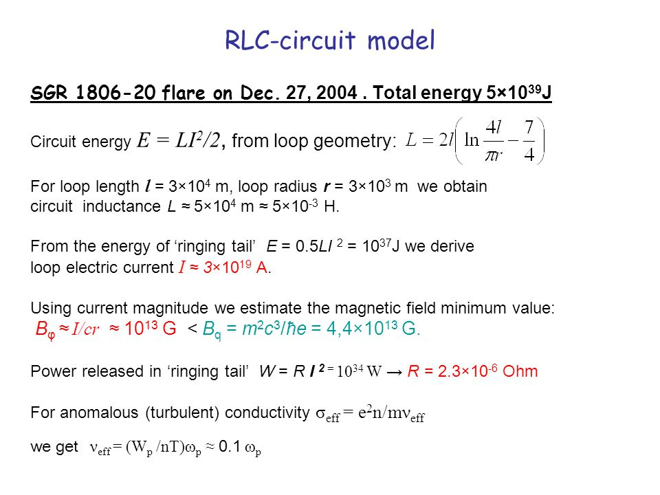RLC-circuit model SGR 1806-20 flare on Dec. 27, 2004.