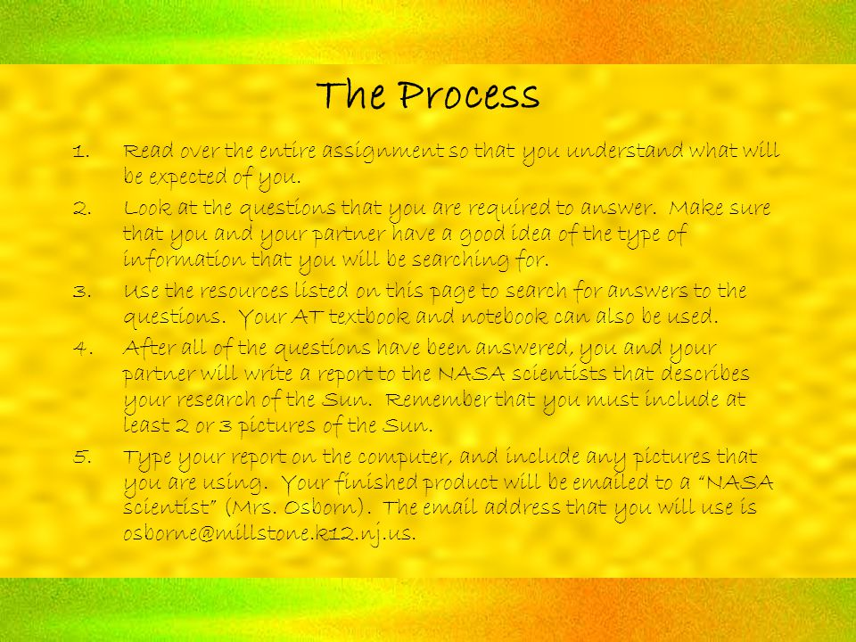 The Process 1.Read over the entire assignment so that you understand what will be expected of you.