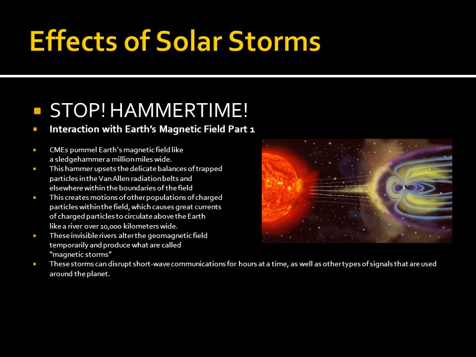Effects of Solar Storms  STOP. HAMMERTIME.