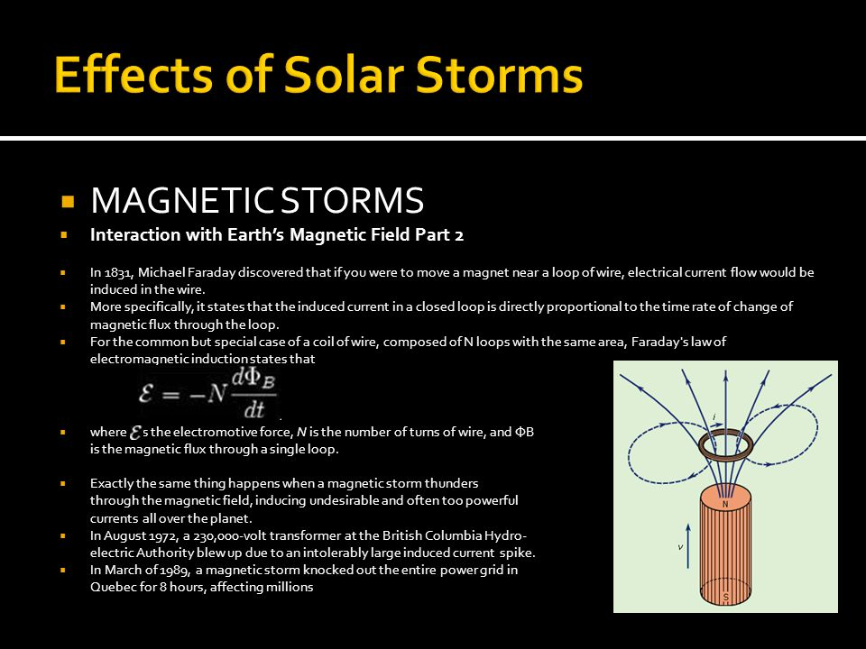 Effects of Solar Storms  MAGNETIC STORMS  Interaction with Earth's Magnetic Field Part 2  In 1831, Michael Faraday discovered that if you were to move a magnet near a loop of wire, electrical current flow would be induced in the wire.