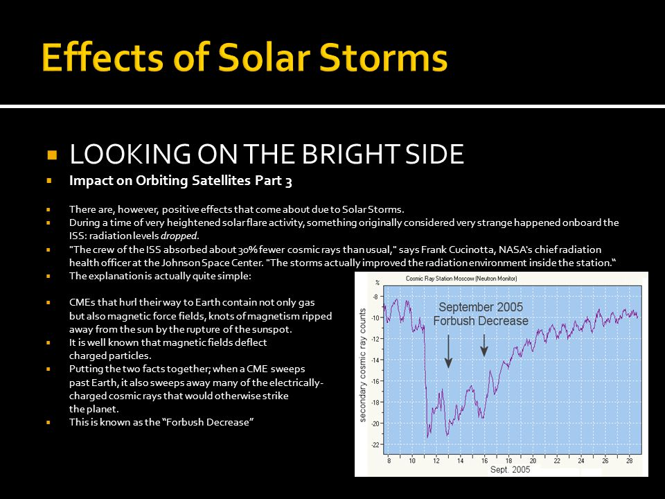 Effects of Solar Storms  LOOKING ON THE BRIGHT SIDE  Impact on Orbiting Satellites Part 3  There are, however, positive effects that come about due to Solar Storms.