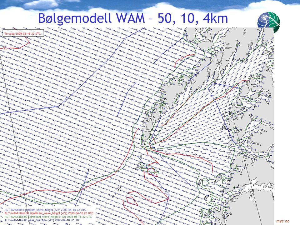 Meteorologisk institutt met.no Bølgemodell WAM – 50, 10, 4km