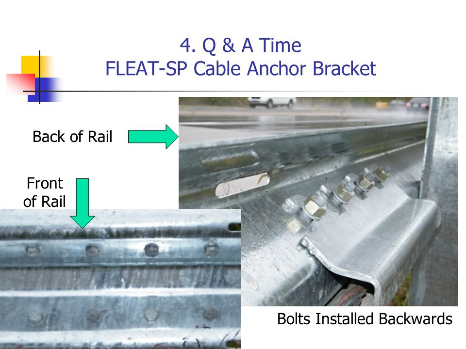 4. Q & A Time FLEAT-SP Cable Anchor Bracket Front of Rail Back of Rail Bolts Installed Backwards