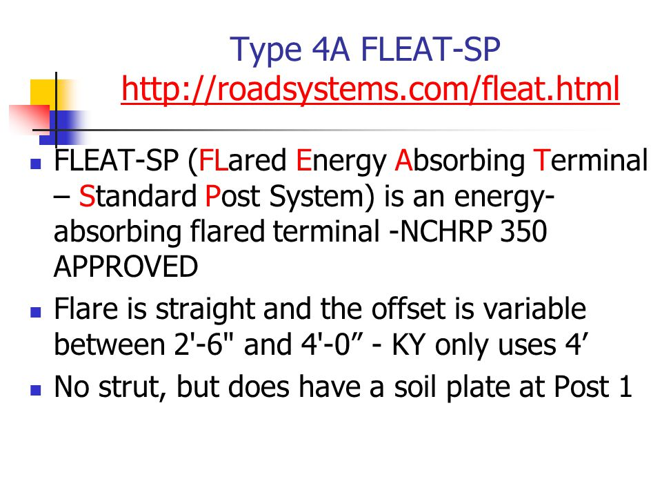 Type 4A FLEAT-SP http://roadsystems.com/fleat.htmlhttp://roadsystems.com/fleat.html FLEAT-SP (FLared Energy Absorbing Terminal – Standard Post System)