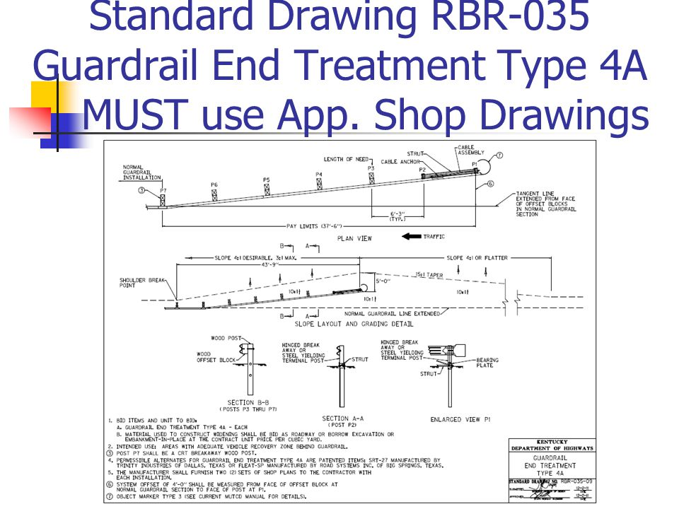 Standard Drawing RBR-035 Guardrail End Treatment Type 4A MUST use App. Shop Drawings