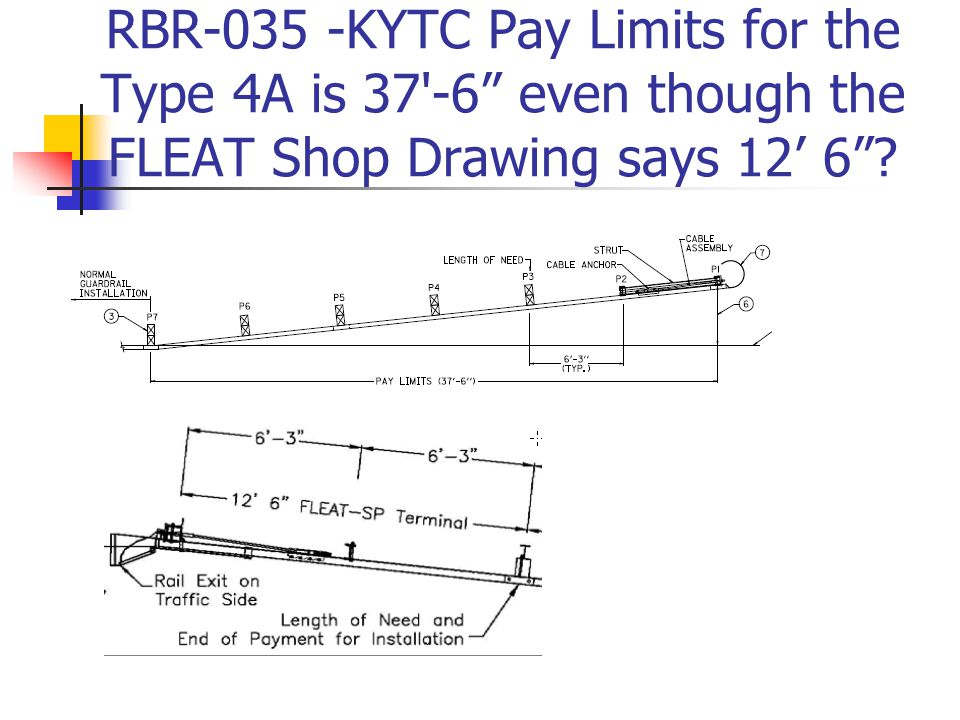 "RBR-035 -KYTC Pay Limits for the Type 4A is 37'-6"" even though the FLEAT Shop Drawing says 12' 6""?"