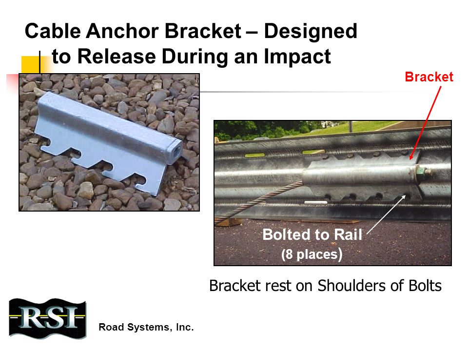 Cable Anchor Bracket – Designed to Release During an Impact Bracket Bolted to Rail (8 places ) Road Systems, Inc. Bracket rest on Shoulders of Bolts