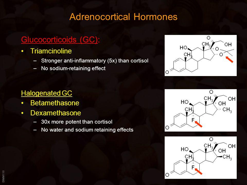 BIMM118 Adrenocortical Hormones Glucocorticoids (GC): Triamcinoline –Stronger anti-inflammatory (5x) than cortisol –No sodium-retaining effect Halogen