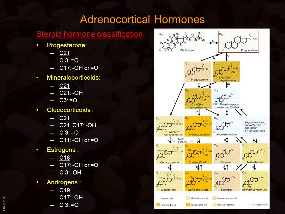 BIMM118 Adrenocortical Hormones Steroid hormone classification: Progesterone: –C21 –C 3: =O –C17: -OH or =O Mineralocorticoids: –C21 –C21: -OH –C3: =O