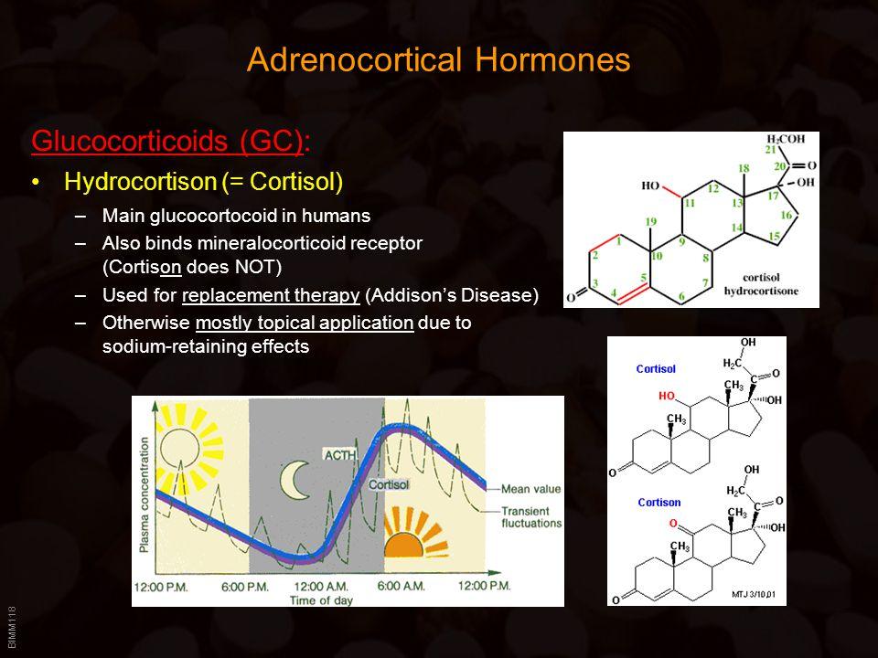 BIMM118 Adrenocortical Hormones Glucocorticoids (GC): Hydrocortison (= Cortisol) –Main glucocortocoid in humans –Also binds mineralocorticoid receptor
