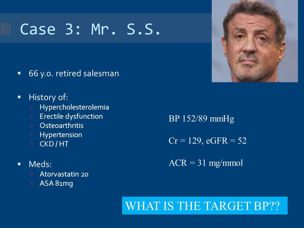 Case 3: Mr. S.S.  66 y.o. retired salesman  History of:  Hypercholesterolemia  Erectile dysfunction  Osteoarthritis  Hypertension  CKD / HT  M